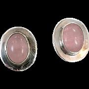 Rose Quartz Earrings, Sterling Earrings, Mexico, Vintage Earrings, Stone Earrings, Pink Earrings, Big Statement, Ethnic Tribal