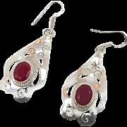 Ruby Corundum Sterling Silver Earrings - Vintage Dangle Boho Ethnic - InVintageHeaven