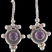 Tourmaline Earrings, Purple Gemstones, Sterling Silver, Vintage Earrings, Ethnic Tribal, Pierced Dangle, Boho Jewelry, Bohemian, Stone