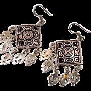 Gypsy Earrings, Sterling Silver, Vintage Earrings, Big Statement, Dangle, Pierced, Boho Jewelry, Bohemian, Vintage Jewelry, Festival, Big