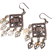 Gypsy Earrings, Sterling Silver, Vintage Earrings, Big Statement, Dangle, Pierced, Boho Jewelry, Bohemian, Vintage Jewelry, Festival, Big