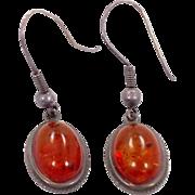 Amber Earrings, Sterling Silver, Vintage Earrings, Oval Honey Amber, Boho Statement, Boho Jewelry, 925, Modern, Pierced Dangles