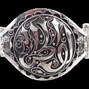 Middle Eastern Cuff, Sterling Silver, Vintage Bracelet, Cuff Bangle, Ornate Odd, Unique Unusual, Ethnic, Boho Statement, Bohemian, Big