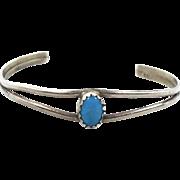 Baby Child Doll, Turquoise Bracelet, Sterling Silver, Cuff Bracelet, Vintage Bracelet, Native American, Tiny Wrist, Little Bracelet