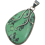 Turquoise Pendant, Green Turquoise, Sterling Silver, Vintage Jewelry, Handcrafted, Artisan, Big Statement, Boho Bohemian, Ethnic Tribal