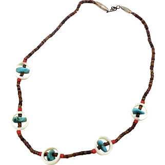 Turquoise Necklace, Shell Heshi, Vintage Beaded, Coral, Native American, Sterling Silver, Bohemian Boho, Hippie Chic, Festival Jewelry