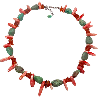 Turquoise Necklace, Honey Amber, Natural Coral, Vintage Necklace, Sterling Silver, Choker, Beaded Necklace, Green Turquoise, Boho Bohemian