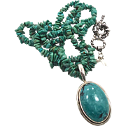 Turquoise Beaded Sterling Silver Necklace & Pendant - Vintage India - Multistrands - InVintageHeaven