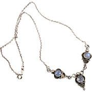 Moonstone Necklace, Vintage Necklace, Sterling Silver, Blue Moonstone, Glowing, Silver Chain, Boho Bohemian, Ethnic Tribal, Vintage Jewelry