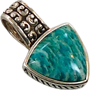 Amazonite Pendant, Russian Amazonite, Sterling Silver, Vintage Pendant, Green Turquoise, Boho Bohemian, Ethnic Tribal, Vintage Jewelry, 925