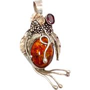 Amber Pendant, Garnet, Vintage Pendant, Sterling Silver, Organic, Vintage Jewelry, Statement, Unique, Boho Bohemian, Oval Stone, Detailed