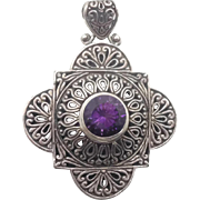 Amethyst Pendant, Sterling Silver, Vintage Pendant, Large Big, Ornate Detailed, Big Statement, Boho Bohemian, Ethnic Tribal, Quality, Purple