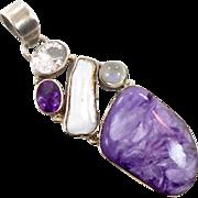 Charite Pendant, Purple Chariote, Sterling Silver, Moonstone, Amethyst, Quartz, Vintage Pendant, Big Large, Purple Gemstones, Multi Stone