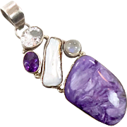 Charite Pendant, Purple Chariote, Sterling Silver, Moonstone, Amethyst, Quartz, Vintage Pendant, Big Large, Purple Gemstones, Multi Stone
