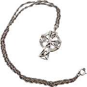 Celtic Cross, Cross Necklace, Sterling Silver, Vintage Pendant, Irish Jewelry, Celtic Necklace, 925, Sterling Chain, Irish Cross, Unisex
