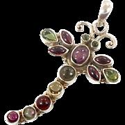 Dragonfly Pendant, Tourmaline Pendant, Sterling Silver, Vintage Pendant, Green, Purple, Red, Big Statement, Multi Stone, Mixed Gemstone