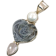 Druzy Pendant, Stalactite Druzy, Heart Pendant, Rose Quartz Crystal, White Pearl, Sterling Silver, Vintage Pendant, Statement, Mixed Stone