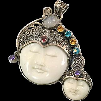 Goddess Pendant, Mother Daughter, Moonstone, Sterling Silver, Vintage Pendant, Moon Goddess, Carved Bone Face, Boho Statement, Bali