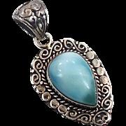Larimar Pendant, Sterling Silver, Vintage Pendant, Blue Stone, Dolphin Stone, Ethnic Tribal, Boho, Stefilia, Atlantis, 925, New Age Jewelry