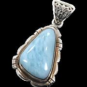 Larimar Pendant, Sterling Silver, Vintage Pendant, Blue Stone, Dolphin Stone, Boho Bohemian, Stefilia,, Atlantis, 925, New Age Jewelry