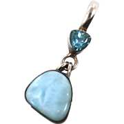 Larimar Pendant, Blue Topaz, Sterling Silver, Vintage Pendant, Dolphin Stone, Multi Gemstone, Mixed, Boho Bohemian, Beach Jewelry, 925