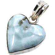 Larimar Pendant, Heart Pendant, Sterling Silver, Vintage Pendant, Blue Stone, Dolphin Stone, Love, Blue Heart, Beach Ocean, Vintage Jewelry