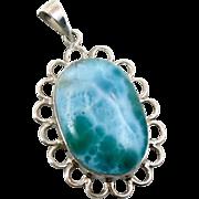 Larimar Pendant, Sterling Silver, Vintage Pendant, Big Stone, Blue Stone, Dolphin Stone, Boho Bohemian, Vintage Jewelry