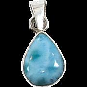Larimar Pendant, Sterling Silver, Vintage Pendant, Blue Stone, Dolphin Stone, Handcrafted, Boho Bohemian, Petite Pendant, Beach Jewelry