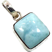 Larimar Pendant, Sterling Silver, Vintage Pendant, Square Stone, Blue Stone, Dolphin Stone, Boho Bohemian, Handcrafted