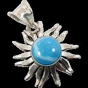 Sun Pendant, Larimar Pendant, Sterling Silver, Vintage Pendant, Big Stone, Mexico, Blue Pendant, Dolphin Stone, Statement