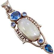 Moonstone Pendant, White Stone, Sterling Silver, Vintage Pendant, Big Stone Faceted Blue, Faux Topaz, Large Statement, Boho Bohemian, 925