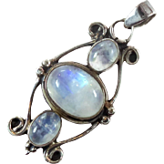 Moonstone Pendant, Sterling Silver, Vintage Pendant, Multi Stones, Blue Gemstones, Boho Tribal, Bohemian Ethnic, Big Statement, 925, Glowing