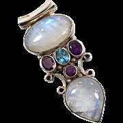 Moonstone Pendant, Sterling Silver, Vintage Pendant, Amethyst, Blue Topaz, Multi Stone, Purple, Big Statement, Huge Boho