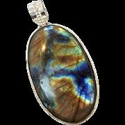 Labradorite Pendant, Sterling Silver, Blue Gold, Vintage Pendant, Huge Big, Sterling Pendant, Vintage Jewelry, Moonstone, Boho Bohemian