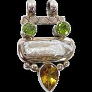 Citrine Pendant, Pearl Peridot, Sterling Silver, Vintage Pendant, Green Yellow, Multi Stone, Boho Bohemian, Mixed Gemstone, Bohemian