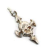 Skull Pendant, Vintage Pendant, Sterling Silver, Vintage Charm, Gothic Biker Skeleton, Arrows, 925