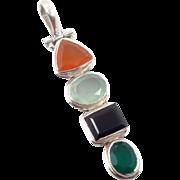 Tourmaline Pendant, Sterling Silver, Vintage Pendant, Green Orange, Aqua Black, Multi Stone, Boho Bohemian, Mixed Gemstones, Minimalist