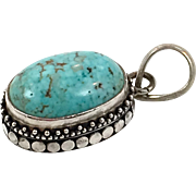 Turquoise Pendant, Sterling Silver, Vintage Pendant, Ethnic Tribal, Vintage Jewelry, Oval Stone, Medium Size, Boho Pendant, Bohemian  Ask a question