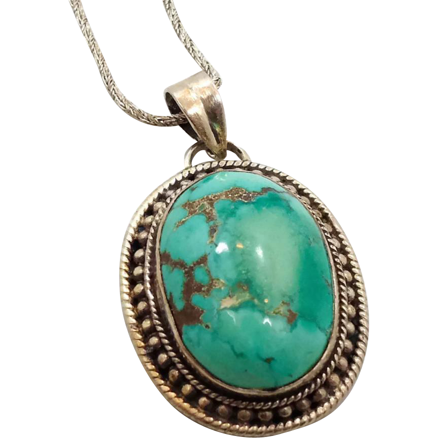 turquoise pendant sterling silver turquoise necklace