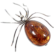 "Amber Spider Brooch, Vintage Pin, Sterling Silver, Big Statement, Honey Amber, Unique Odd, 925, Large Huge, 2"" Long, Creepy, Gothic"