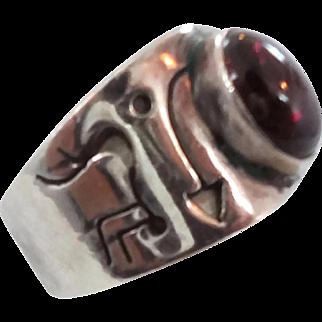 Garnet Ring, Sterling Silver, Ring Band, Vintage Ring, Petroglyphs, Cigar Band, Size 6 1/2 , Ethnic Tribal, Boho Jewelry, Bohemian