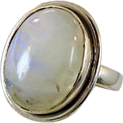 Moonstone Ring, Sterling Silver, Vintage Ring, Mens Mans Unisex, Size 7 1/2, Glowing Stone, White Moonstone, Mens Jewelry, Pinky