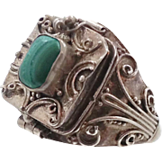 Poison Ring, Green Malachite, Vintage Ring, Sterling Silver, Locket Ring, Size 9, Boho Bohemian, Ethnic Tribal, Green Stone, Unique