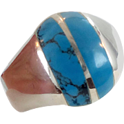 Turquoise Ring, Sterling Silver, Vintage Ring, Mexico Silver, Mens Ring, Size 11 1/2, Inlaid Stone, Signet Style, Heavy, Vintage Jewelry