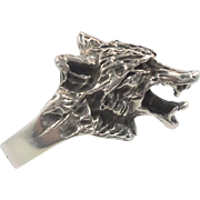 Wolf Ring, Sterling Silver, Vintage Ring, Werewolf, Gothic, Biker Rocker, Detailed Custom, Large Big Huge, Statement, Size 7, Animal, Dog