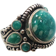 Amazonite Ring, Sterling Silver, Green Stone, Ethnic Tribal, Big Statement, Thailand, Size 9, Vintage Jewelry, Boho, Signed NK, Bohemian