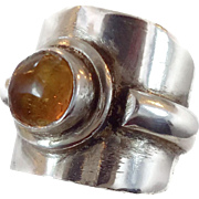 Honey Amber Ring, Sterling Silver, Vintage Jewelry, Cigar Band Style, Size 7 1/2, Big Statement, Modern Mod, Large Wide, Unisex Mens Mans