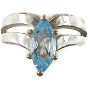 Blue Topaz Sterling Silver Ring - Marquise Faceted Stone - Size 8 - InVintageHeaven