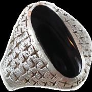 Black Onyx Ring, Sterling Silver, Mid Century Modern, Vintage Ring, Signet Style, Mans Mens, Size 9 1/2, Diamond Cross Pattern, Oval