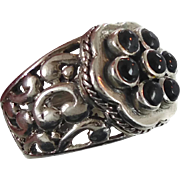 Black Onyx Ring, Sterling Silver, Vintage Ring, Big Statement, Ethnic Tribal, Large Ring, Boho Statement, Unisex Mens Mans, Size 7, Heavy